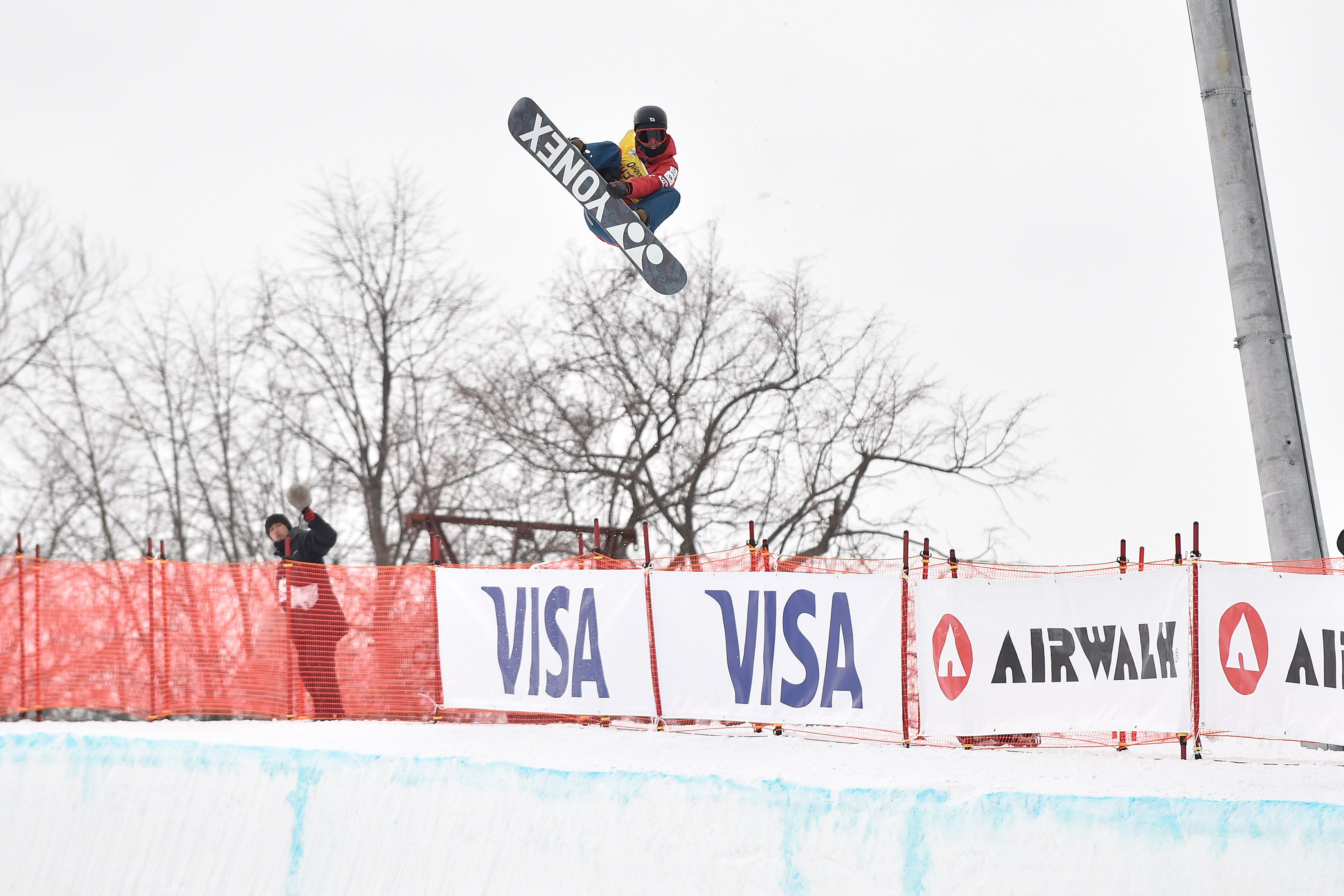 Ryo Aono of Japan competes in the halfpipe world cup qualification in Sapporo, Japan