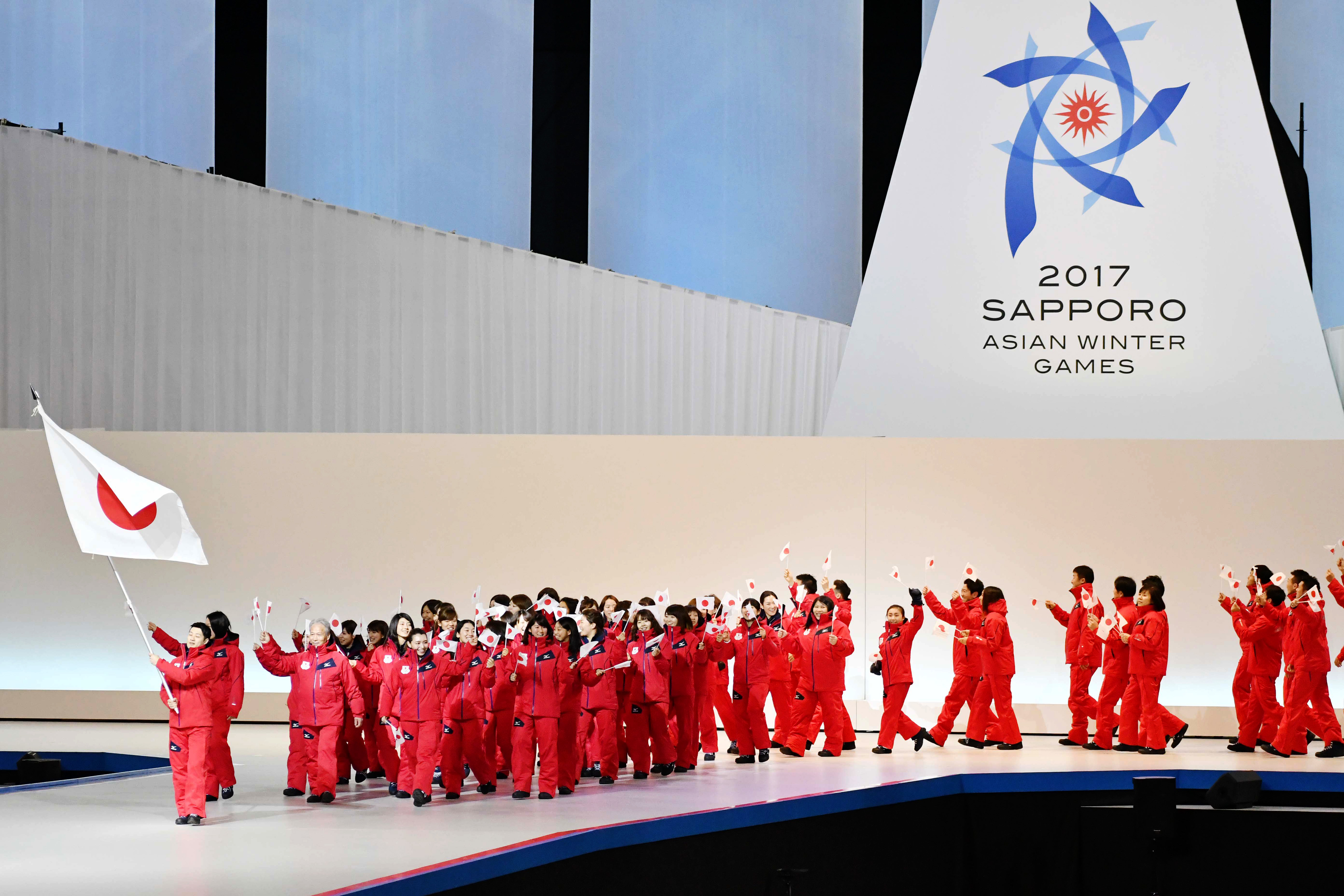 """ú–{'ã•'IŽè'c/Japan Delegation (JPN),  FEBRUARY 19, 2017 :  Opening Ceremony  during the 2017 Sapporo Asian Winter Games  at Sapporo Dome in Hokkaido, Japan.  (Photo by AFLO SPORT)"