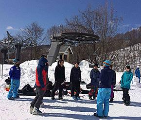 雪上でのウォーミングアップ