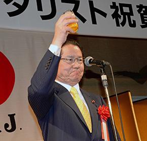 来賓 スポーツ議員連盟副会長 衆議院議員 衛藤征士郎様にはご挨拶と乾杯のご発声をいただいた