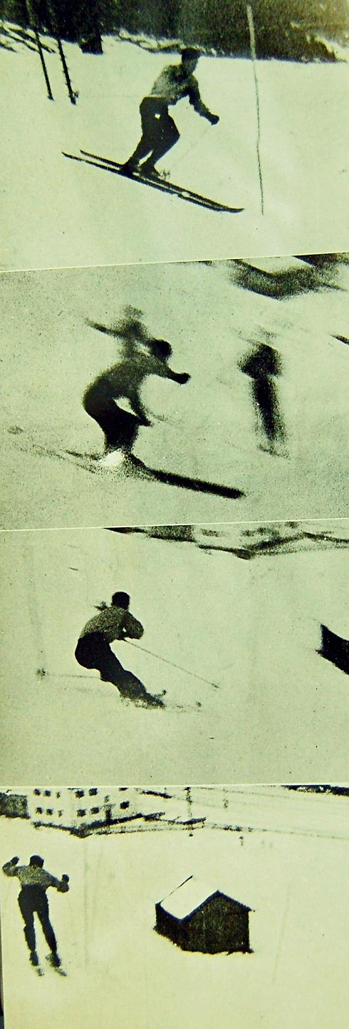 スキー年鑑では、当時めずらしい猪谷の分解写真が掲載されていた(写真はいずれもスキー年鑑第24号)